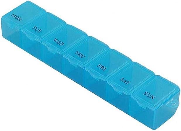 Angoter 1PCS 7 Griglia 7 Giorni settimanale Portapillole Medicina Tablet Pill Dispenser Caso Medicina Scatola di plastica Splitters Health Care Strumento di Blu