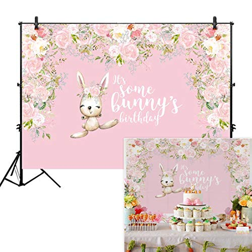 Allenjoy 7x5ft Easter Birthday Backdrop for Spring Girl's 1st First Pink Onederland Party Decor Some Bunny is Turning One Rabbit Floral Flower Studio Photography Background Photo Booth Baby -