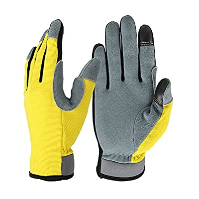 Genuine Deerskin Snug-fit Multifunction Work Gloves with Touch Screen Fingertips for Working, Gardening, Automotive Work and Outdoor Sports, Excellent Grip