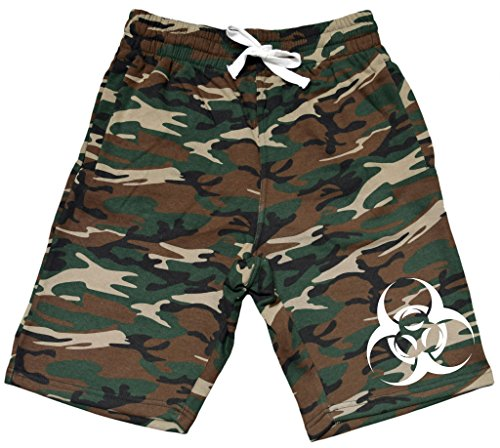 Men's Biohazard Symbol V289 Camo Fleece Jogger Sweatpant Gym Shorts Large Black -