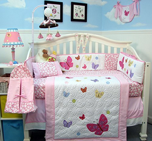 Soho Pink dancing butterflies Baby Crib Nursery Bedding Set 14 pcs included Diaper Bag with Changing Pad & Bottle Case by SoHo Designs   B00FGVOWYI