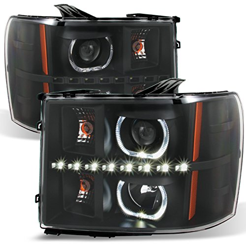 For GMC Sierra Pickup Black Exclusive Halo Projector Ultra Bright SMD DRL LED Headlights Front Lamps -