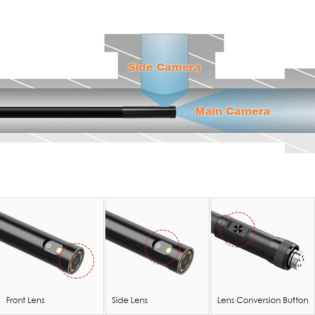 1M 8mm Semi-Rigid Tube 1080P Full HD for Industrial Endoscope Inspection Camera ZOTO Double Lens Tube