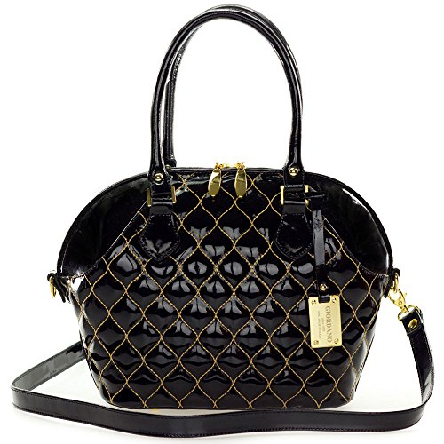Giordano Italian Made Tote Handbag in Black Patent Quilted Leather with Gold ()