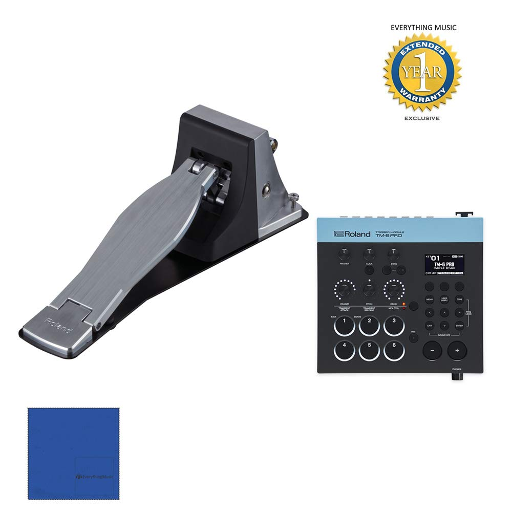 Roland TM6Pro Trigger Module with Roland KT-10 Kick Pedal Bundle with 1 Year Free Extended WarrantyandMicrofiber