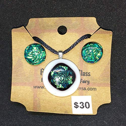 Green Dichroic Pendant and earring - Green Pendant Dichroic
