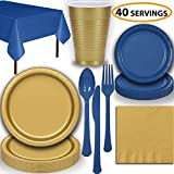 Disposable Party Supplies, Serves 40 - Gold and Blue - Large and Small Paper Plates, 12 oz Plastic Cups, heavyweight Cutlery, Napkins, and Tablecloths. Full Two-Tone Tableware Set