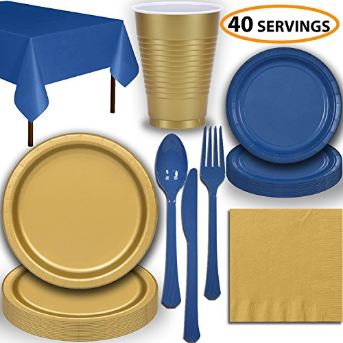 (Disposable Party Supplies, Serves 40 - Gold and Blue - Large and Small Paper Plates, 12 oz Plastic Cups, heavyweight Cutlery, Napkins, and Tablecloths. Full Two-Tone Tableware)