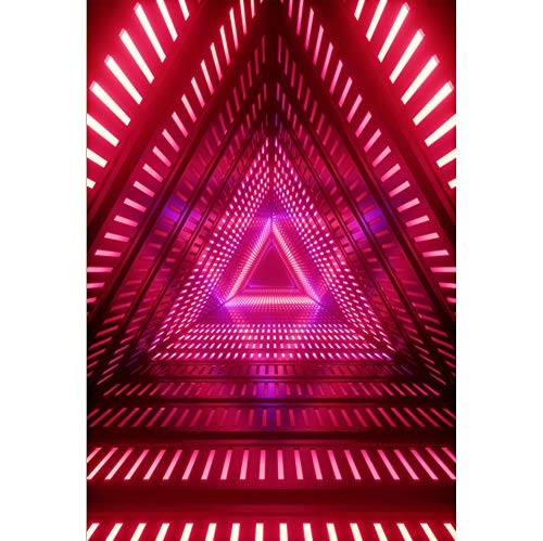 Baocicco 8x12ft Stage Backdrop 3D Render Red Neon Lights Triangle Spatio-Temporal Tunnel Abstract Geometric Photography Background Talent Show Solo Show Stage Children Adults Portrait Studio -