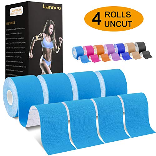 Laneco Kinesiology Tape (19.7ft Uncut Per Roll), Latex Free Physio Tape, Breathable, Water Resistant Sports Tape for Muscles & Joints, Pain Relief and Injury Recovery, Free Taping Guide