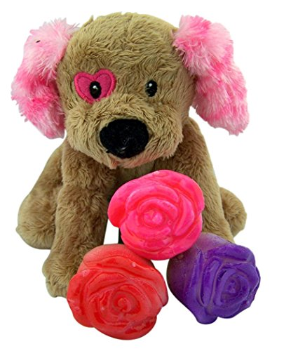 Heart Eye Dog Stuffed Animal with Bouquet of Candy Lollipop Roses, 6 Count