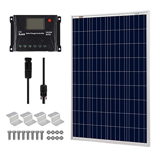 (Rich Solar 100 Watts 12 Volts Polycrystalline Solar Starter Kit w/ 100w Solar Panel +10A Charge Controller +20ft 12AWG +Mounting Brackets)