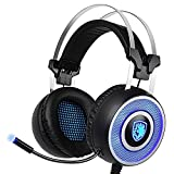 SADES A9 Gaming Headset,USB Over Ear Gaming Headphones with Microphone ,7 colors Breathing LED Lighting Vibration for Pc(Black and Blue)