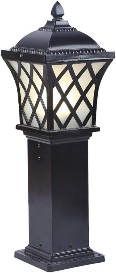 Xu Yuan Jia-Shop Lámparas Farola Exterior Vista al jardín Luz del césped Villa Patio Lámpara de pie Lámpara Impermeable Pequeña Calle Luz 0.6/0.8 M lluminacion Exterior (Color : Black, tamaño : 0.6M)
