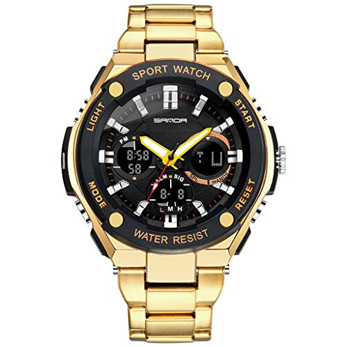LED sports watch!Charberry Men's Sports Watch Dual Display Analog Digital LED Steel Belt Electronic Watch (Gold)
