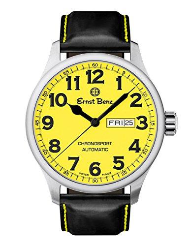 Ernst Benz Chronosport 44mm Swiss Automatic Yellow Dial Black Numerals Men's Watch (Swiss Eta 2836 2 Automatic)