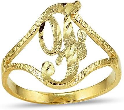 LoveBling 10K Yellow Gold Ladies Cursive Alphabet Initial Ring