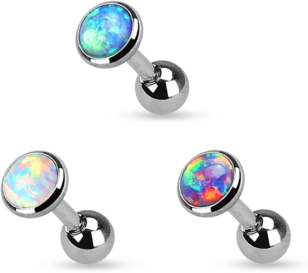 Pierced Owl Set of 3 Opal Set Flat Top 316L Surgical Steel Cartilage/Tragus Barbell in 3mm, 4mm, or 5mm