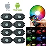 RGB LED Rock Light Kits with Bluetooth Control & Cell Phone Control & Timing & Music Mode & Flashing & Automatic Control & Color Grad Multicolor Neon Lights Under Off Road Truck SUV ATV 8PCS