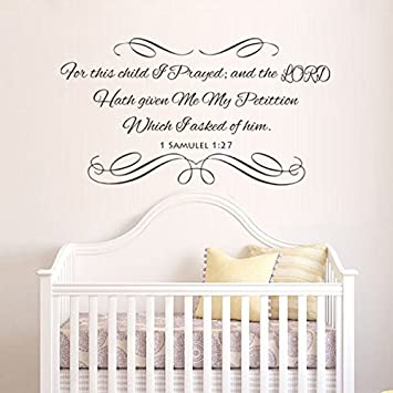 Amazon.com : For This Child I Prayed Vinyl Bible Wall Decal ...