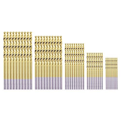 (HSS Micro Titanium Coated Twist Drill Bit Set, High Speed Steel Jobber Length Drill, Split Point, 50 PCS Drill Bits Tools, 1/32