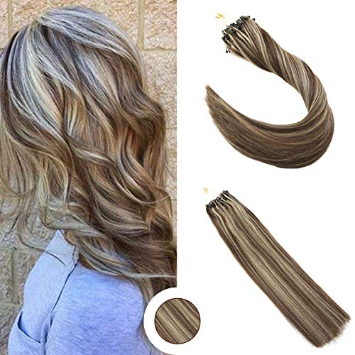 Ugeat 18inch Micro Loop Hair Extensions Dip Dyed Chocolate Brown to Honey Blonde 1g/s 50strands Micro Rings Loop Human Hair Extensions Straight Micro Ring Hair Extensions ()