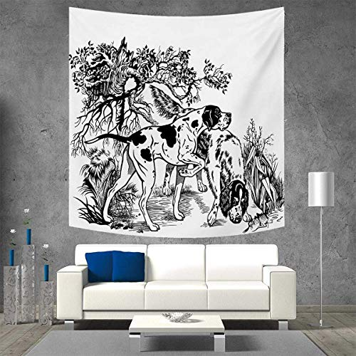 Tapestry English Setter (Anniutwo Hunting Tapestry Wall Tapestry Hunting Dogs in The Forest Monochrome Drawing English Pointer and Setter Breeds Art Wall Decor 39W x 39L Inch Black White)