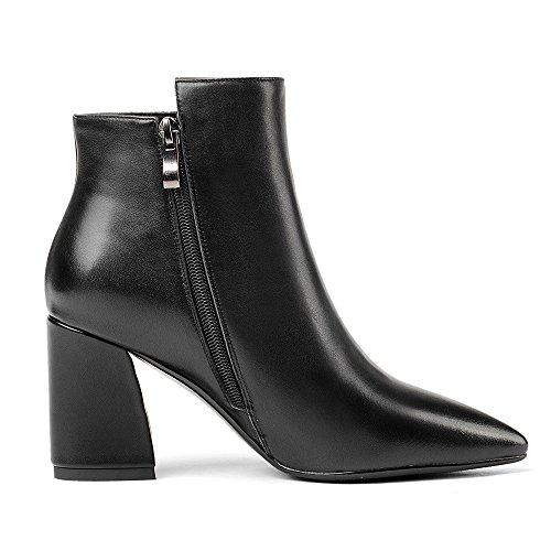 Nio Sju Äkta Läder Womens Pekade Tå Chunky Häl Snörning Handgjorda Elegant Boots Svart