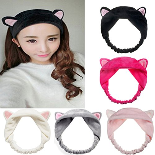 - Mokde Mondge Cute Cat Ear Hair Band For Women Wash Face Makeup Running Sport, 5 Piece