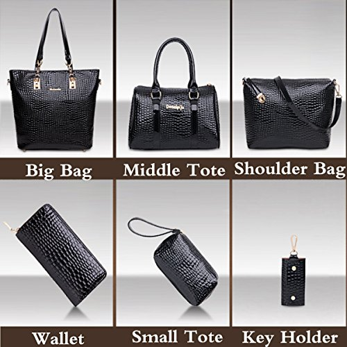 Holder Hobo Bags Wallet Bag and Purse Top Large Set Tote Shoulder Handbag FiveloveTwo Bag Womens Pieces Totes 6 Ladies Satchels Crossbody Black Card Handle Clutch 6wgYFgqO