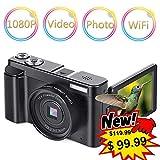 Digital Camera Vlogging Camera Camcorder 24MP Full HD WiFi Youtube Camera 3.0 Inch 180 Degree Rotation Flip Screen Camera 16X Digital Zoom