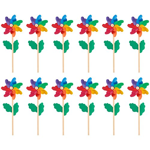 Pinwheels - Pack of 12, Colorful Pinwheels - Value Pack - Suitable for Garden, Party, Outdoor, Yard, Decoration | Multicolored, 4.5 x 11.2 x 2.1 Inches]()