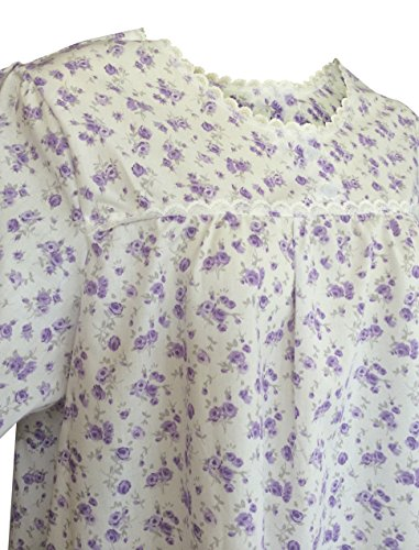 patrón de la vendimia vestido largo camisón de flores con botones en 3 colores y 4 tamaños Púrpura