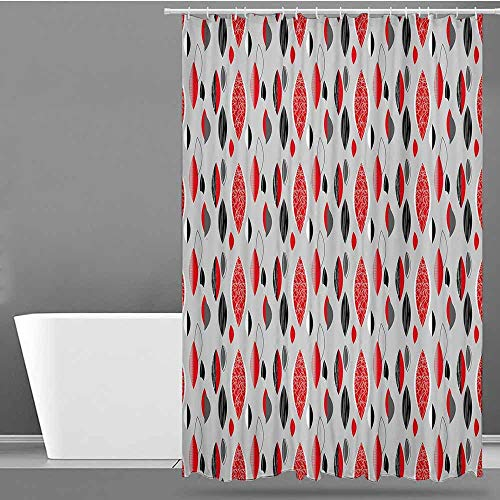 VIVIDX Bathtub Splash Guard,Mid Century,Abstract Oval Leaf Forms with Different Designs and Color Combinations,Polyester Fabric Waterproof,W60x72L Red Black Pale Grey
