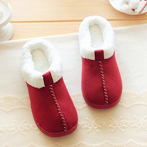 Halluci Womens Confortable Daim Mémoire Mousse Maison Pantoufles Chaussures Vin Rouge