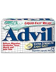 Advil Extra Strength Ibuprofen Pain Relief Liquid-Gels, Fast Acting Pain Relief for Migraine, Arthritis, Back, Neck, Joint, and Muscle Relief, 400mg (24 Count)