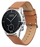LANZOOM Series Oder Fashion Multifunctional 3 Buttons Quartz Hybrid Smart Watch 41mm Stainless Steel Case Italian Leather Band For Men (Black + Coffee)