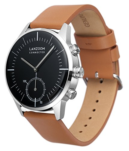 LANZOOM Series Oder Fashion Multifunctional 3 Buttons Quartz Hybrid Smart Watch 41mm Stainless Steel Case Italian Leather Band For Men (Black + Coffee) by LANZOOM