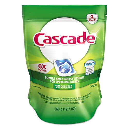 Cascade 2in1 ActionPacs Automatic Dishwasher Detergent, 20/Pack (5 Bags/Carton) - BMC-PGC41759 by Miller Supply Inc