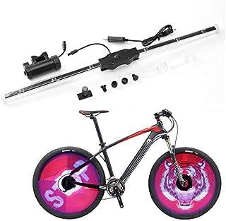 YHLVE Luci per Ruote di Bicicletta, Display programmabile Fai da Te e Doppio Lato e Intelligente Combattimento Impermeabile, colorato