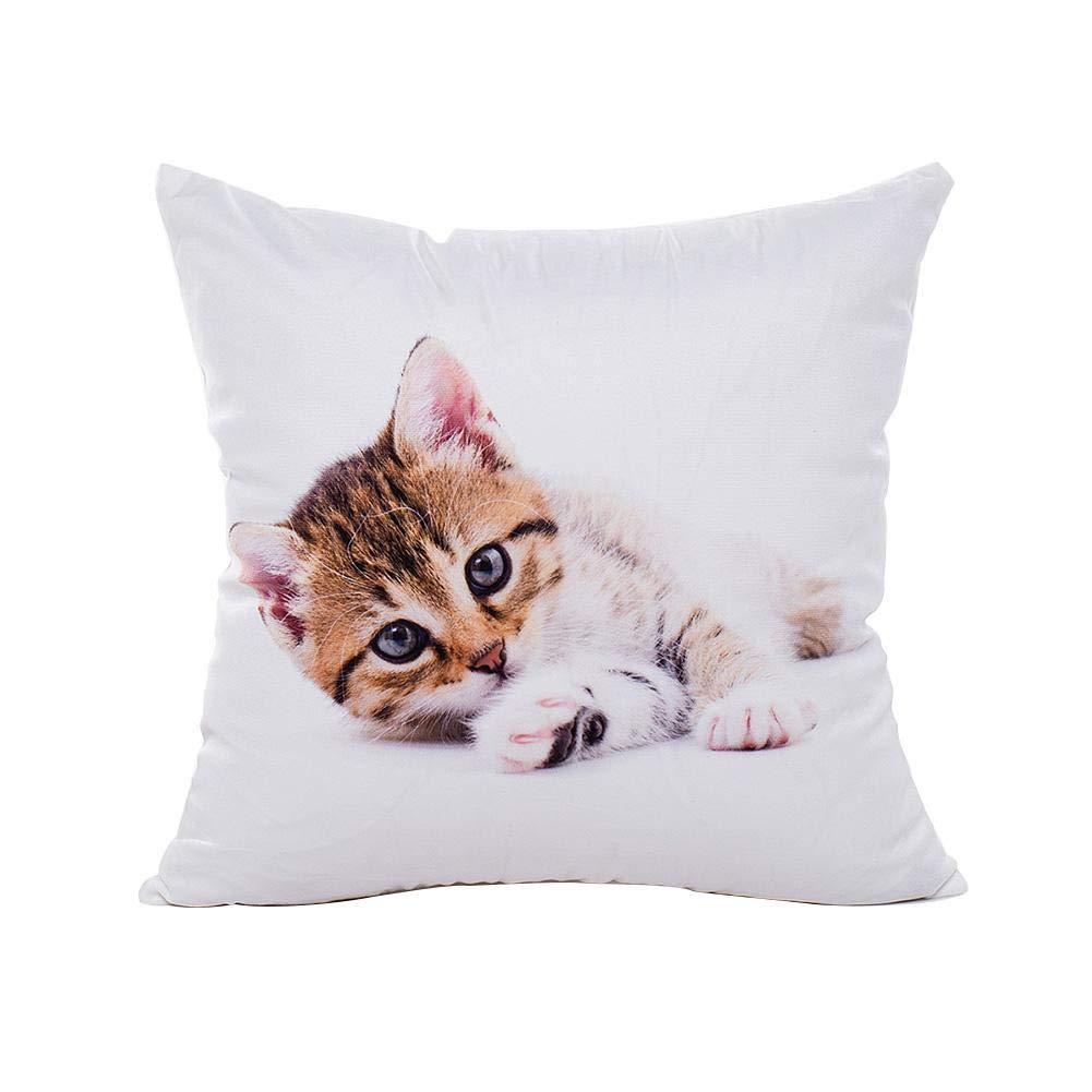 Pillow case Protector traspirante e adorabile gatto immagine gettare copertura del cuscino senza imbottitura, comodo lovely Cat modello Animal throw Pillow case, lavabile Easy Iron percalle federa, /, A CampHiking®