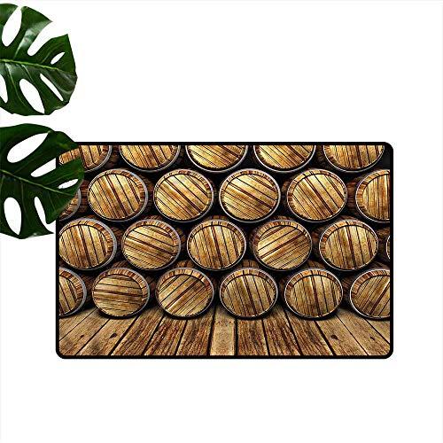 DUCKIL Fashion Door mat Man Cave Wall of Wooden Barrels Durable W16 xL24