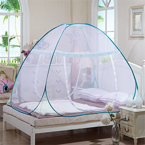 Adarl Indoor Portable Folding Bedroom Sleeping Mosquito Net Tent Canopy Attached Bottom With Single Zipper Door 39.37