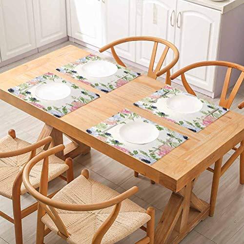 Mantel individual cuadrado para interiores y exteriores, diseno de flores de Anemona, con flores de primavera y naturaleza, con colores pastel Flora Pi, cena, barbacoa, buffet, juego de 4