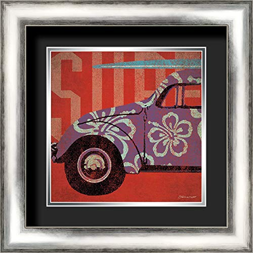 Surf Bug 20x20 Silver Contemporary Wood Framed and Double Matted (Black Over Silver) Art Print by Marrott, Stephanie