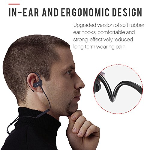 JUHALL Bluetooth Earbuds Sports Headphones with Mic Noise Isolating, In Ear Stereo Bass Earbuds V4.2, IPX4 waterproof Headsets for Running Workout Gym