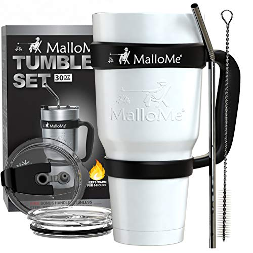 (MalloMe Stainless Steel Vacuum Insulated 6-Piece Tumbler Set, White 30 oz)