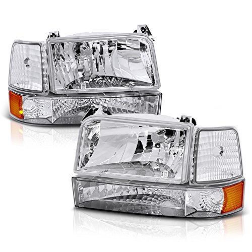 VIPMOTOZ Chrome Housing OE-Style Headlight & Corner Side Marker Lamp Assembly For 1992-1996 Ford Bronco & F-150 F-250 F-350 Pickup Truck, Driver & Passenger Side ()