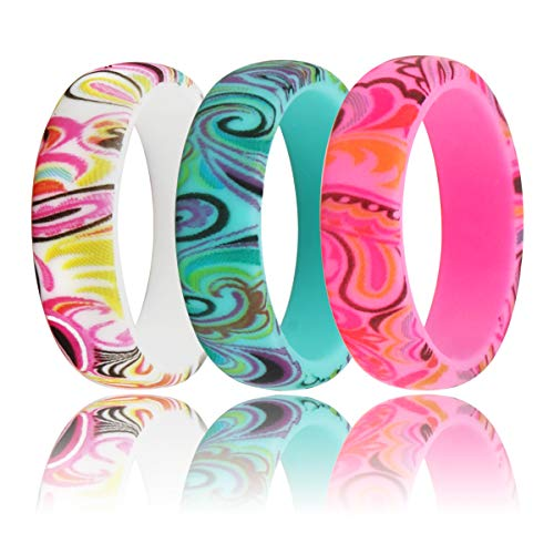 LUNIQI Silicone Wedding Ring, 2019 New Version Paisley Printing Rubber Band, Medical Grade Silicone Band for Love, Couple, Souvenir and Outdoor Active Exercise Style