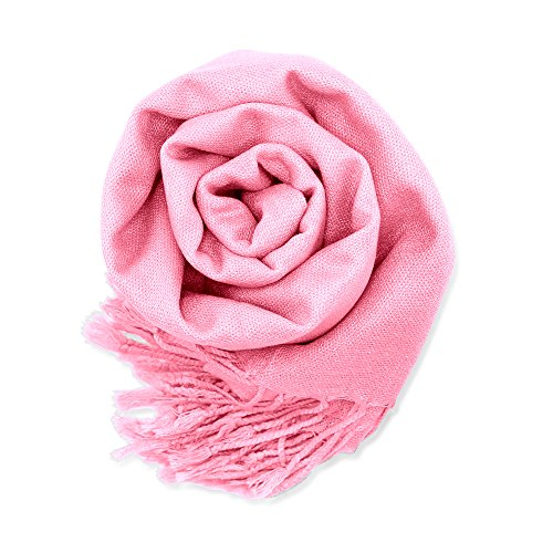 Soft Pashmina Scarf for Women Shawl Wrap Scarves Lady Women's Scarfs in Solid Colors - Pink